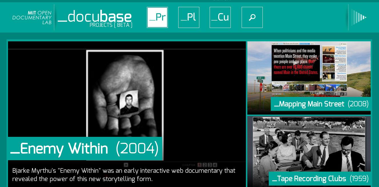 Screenshot from the Docubase homepage