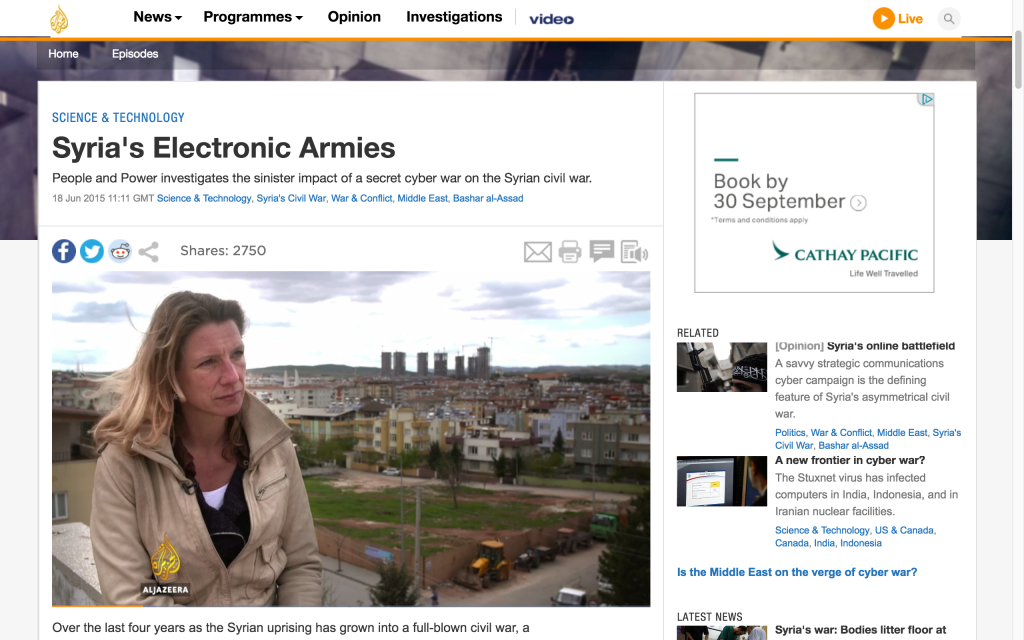 Screen-grab of the documentary Syria's Electronic Armies, part of Al Jazeera's People and Power series