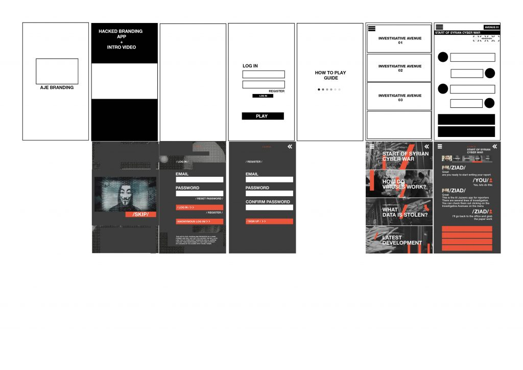 An early wireframe of #Hacked with below its first designed screens